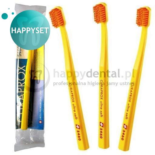 CURAPROX CS 5460 CELLO HappySET Ultra Soft - zestaw 3 wyjątkowych szczoteczek do zębów (opak. foliowe, kolor LOSOWY)