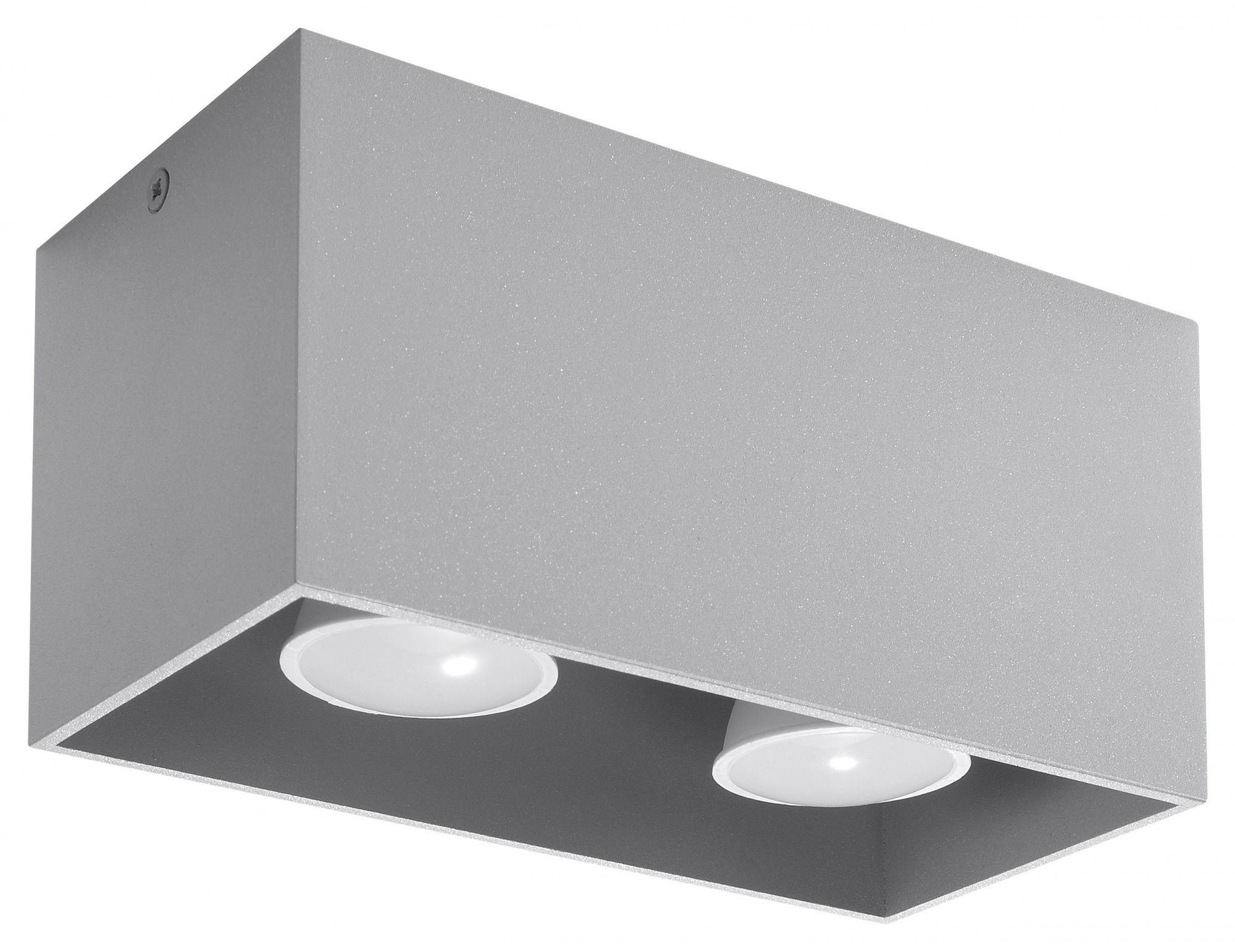 Szary geometryczny plafon LED - EX509-Quas