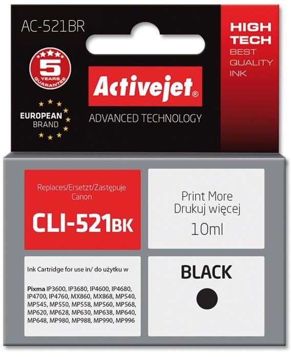 Tusz Activejet AC-521BR (zamiennik Canon CLI-521Bk; Premium; 10 ml; czarny)