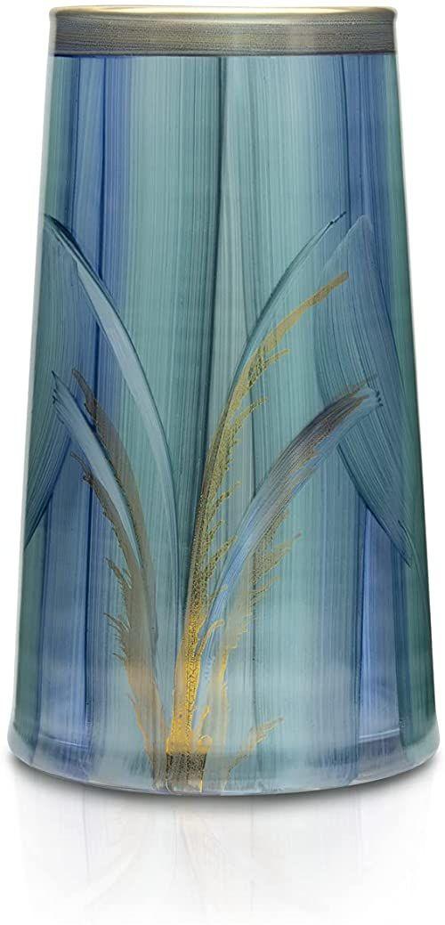 Angela Neue Wiener Werkstätte Wazon Tim -Aqua szklany wazon ręcznie malowany, pozłacany, szkło, turkusowy, 13 cm