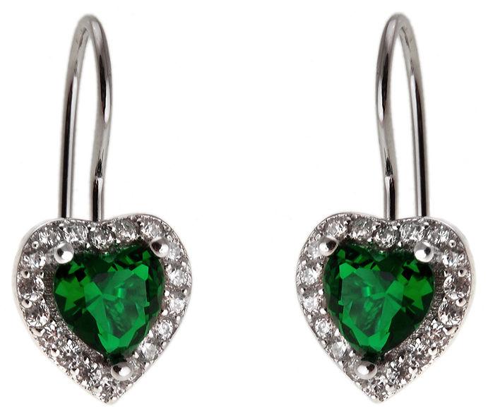 Eleganckie rodowane srebrne wiszące kolczyki serca serduszka heart szmaragd cyrkonie srebro 925 K2764
