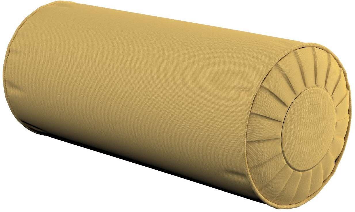 Poduszka wałek z zakładkami, zgaszony żółty, Ø20  50 cm, Cotton Panama