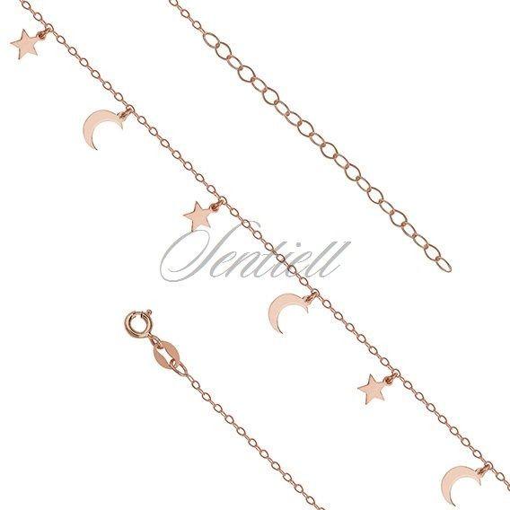Srebrna bransoletka na nogę pr.925 z księżycami i gwiazdkami