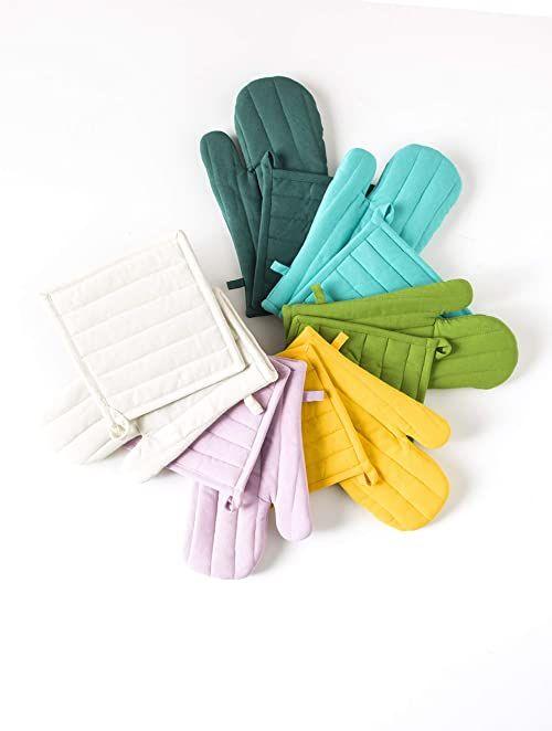 Today Zestaw z rękawicą i łapką do garnków bawełna zestaw z rękawicą i łapką do garnków bawełna 32 x 20 cm, bawełna, szary, 32 x 20 x 2 cm