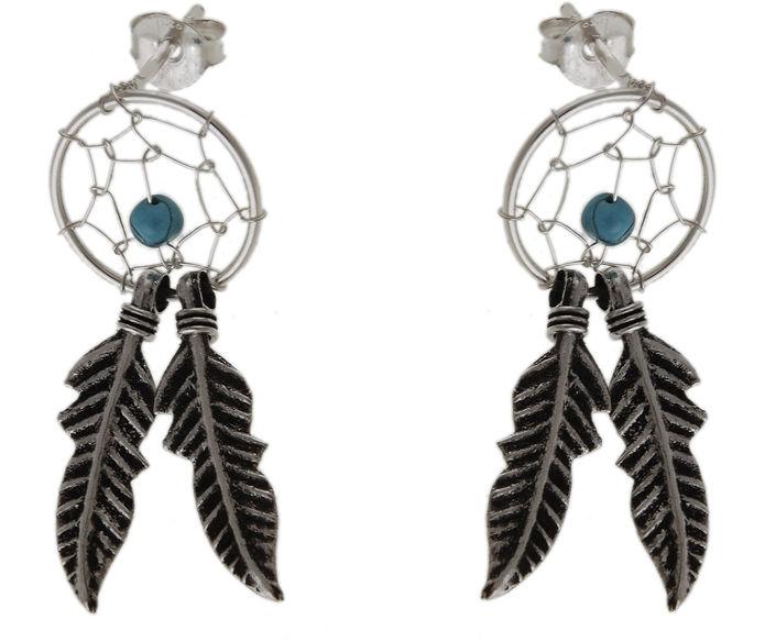 Delikatne wiszące oksydowane srebrne kolczyki łapacz snów dreamcatcher turkus srebro 925 K2771