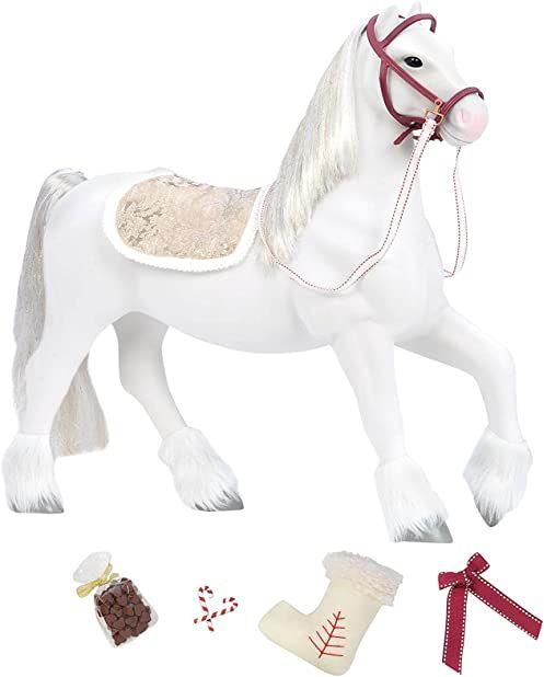 Our Generation BD38025Z Holiday Clydesdale 51 cm zabawka koń, ubrania i akcesoria dla lalek 46 cm - dla dzieci w wieku od 3 lat