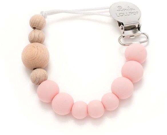 Loulou Lollipop - Drewniana Zawieszka do Gryzaka i Smoczka Delicate Pink - Naturalna