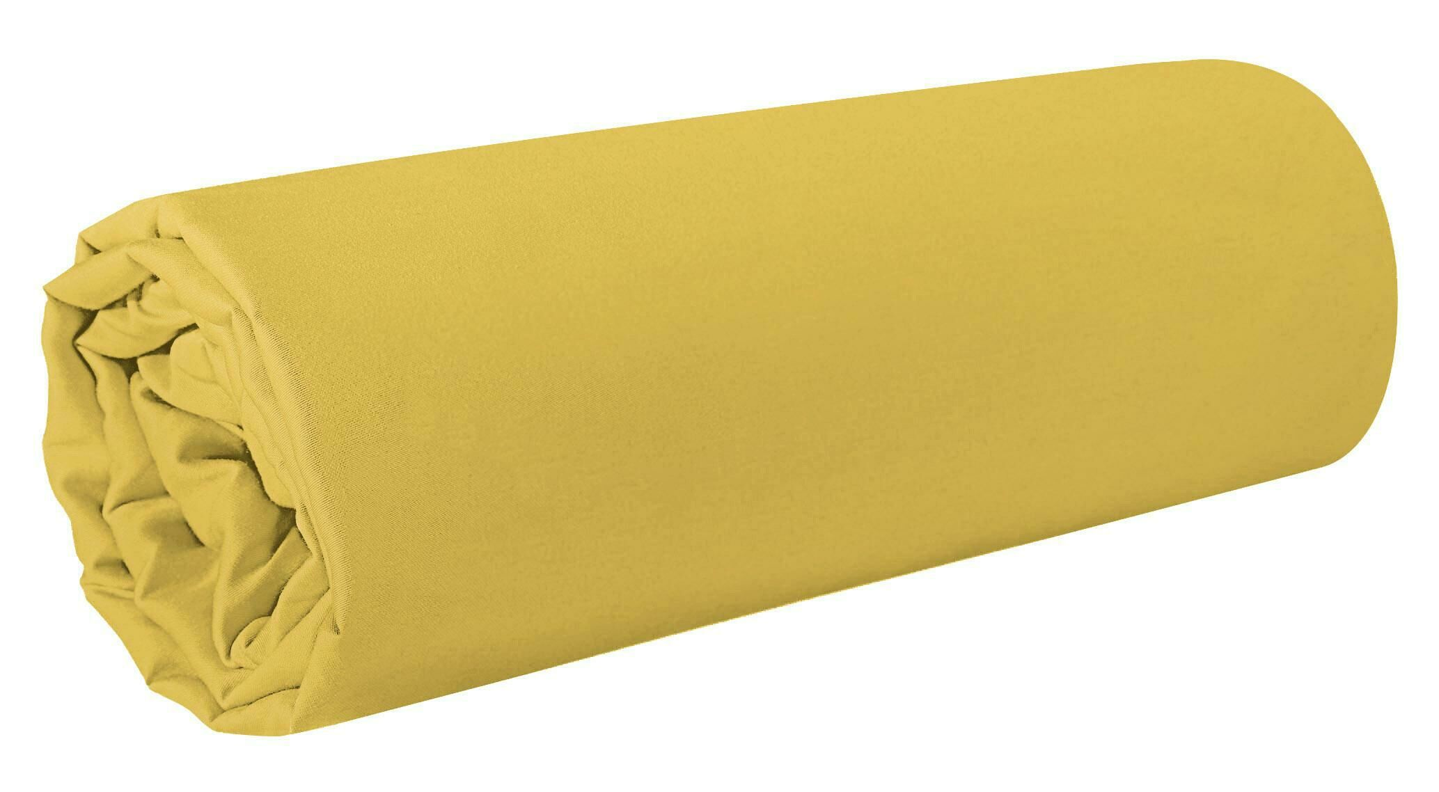 Prześcieradło satynowe 160x210 Nova 1 musztardowe jednobarwne bez gumki Eurofirany