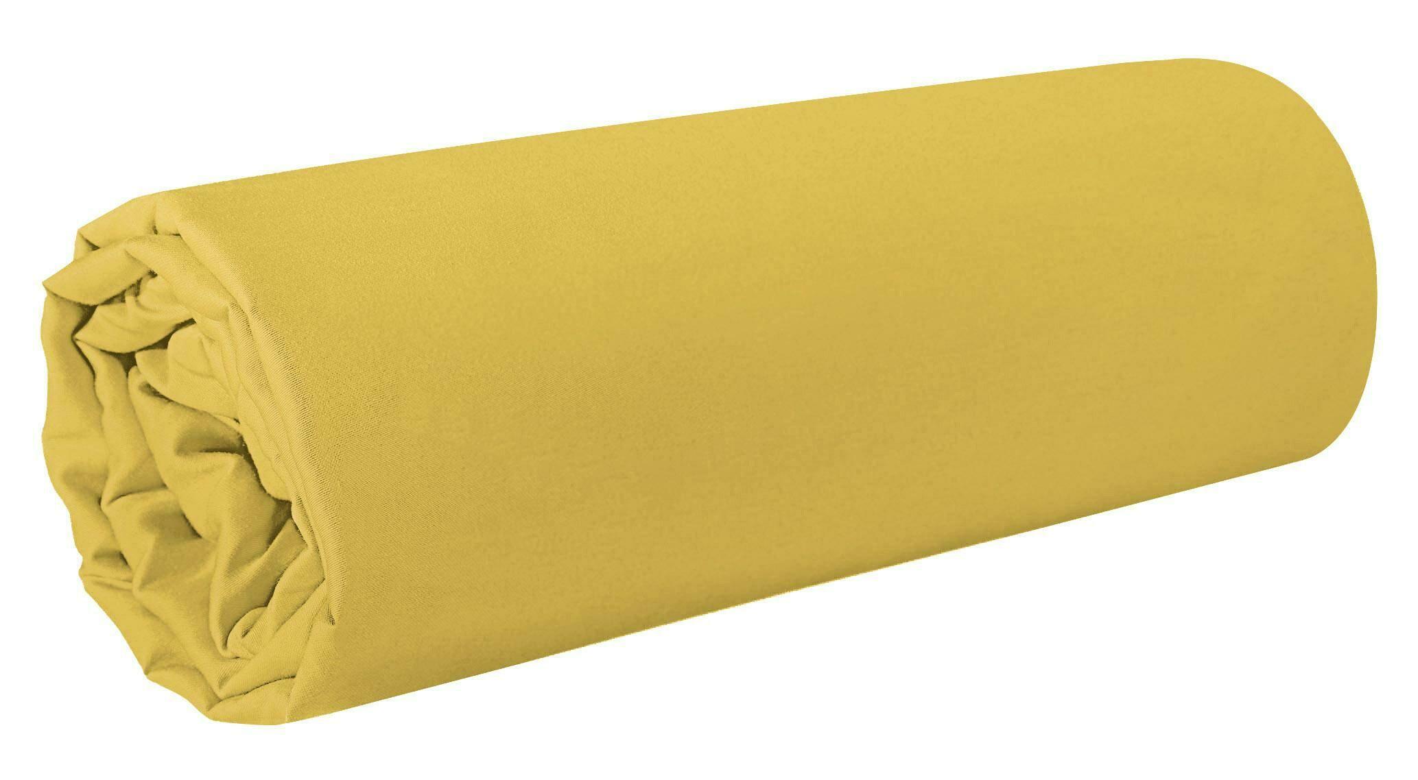 Prześcieradło satynowe 180x210 Nova 1 musztardowe jednobarwne bez gumki Eurofirany