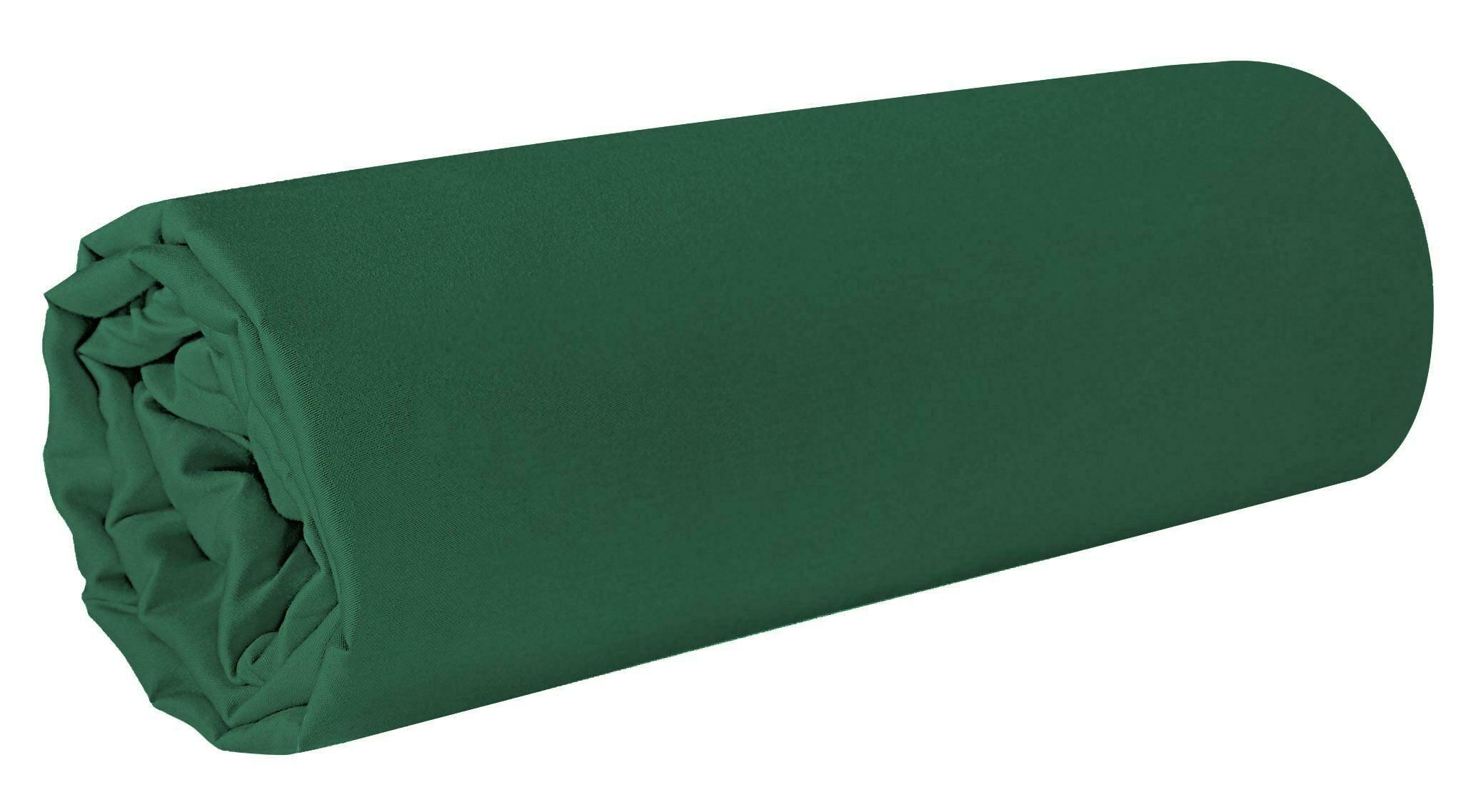 Prześcieradło satynowe 220x210 Nova 1 zielone ciemne jednobarwne bez gumki Eurofirany