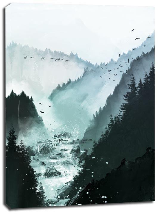 Rzeka w górach - obraz na płótnie wymiar do wyboru: 30x40 cm