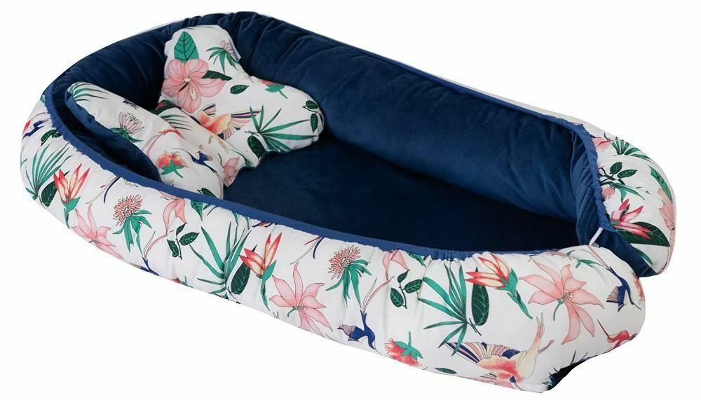 Gniazdko niemowlęce Velvet kokon kwiaty granatowy biały materacyk poduszka motylek 55x80 kolor 2
