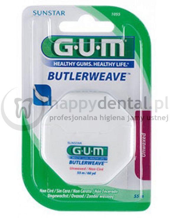 GUM Butlerweave Floss 55m (1055) - płaska nić dentystyczna, niewoskowana