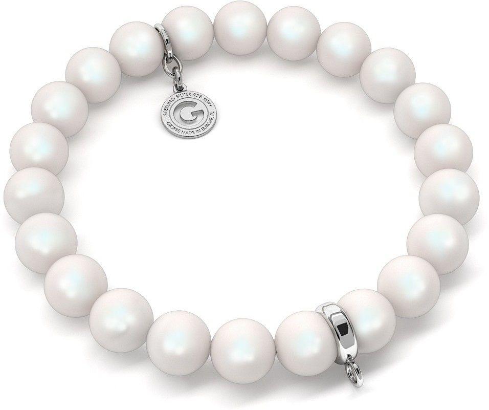 Elastyczna srebrna bransoletka perły Swarovski 925 : Perła - kolory - SWAROVSKI PEARLESCENT WHITE, Srebro - kolor pokrycia - Pokrycie platyną