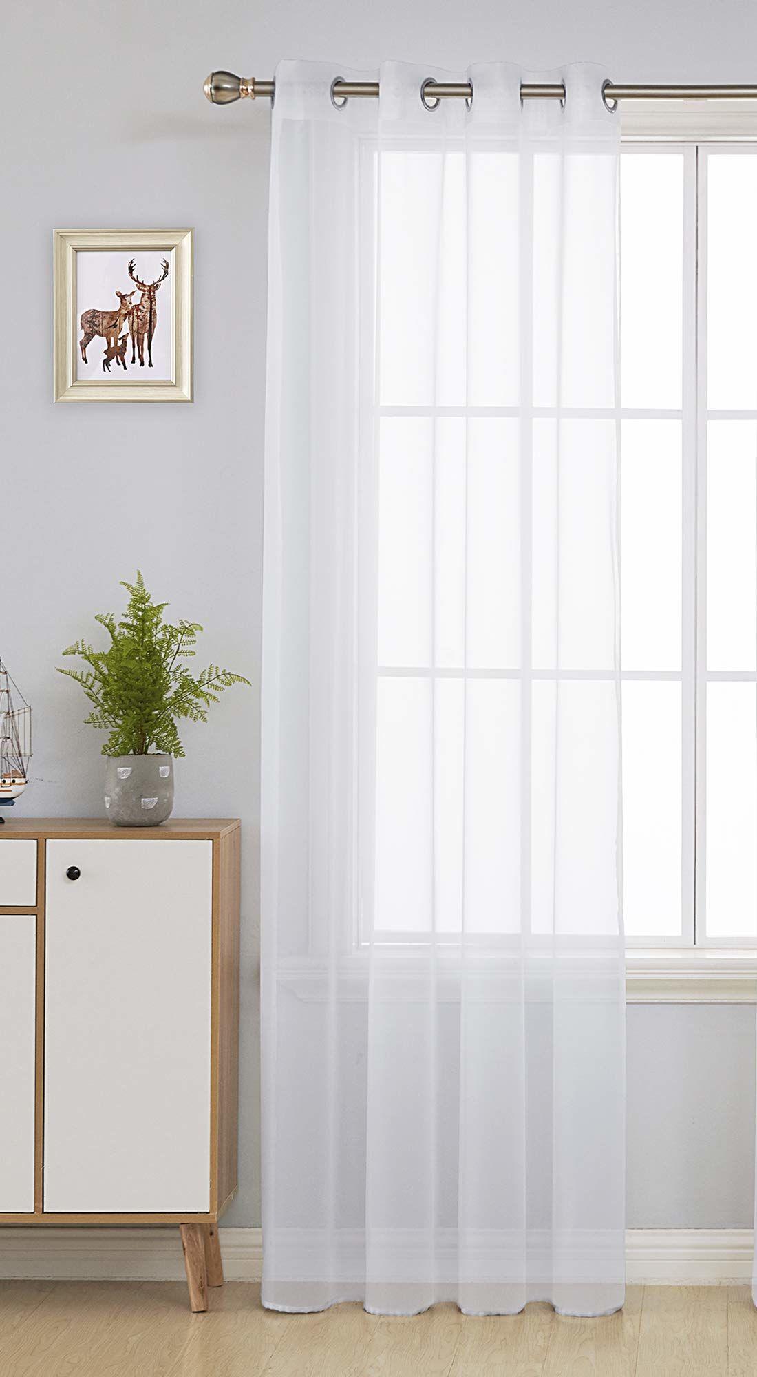 Deconovo Zasłony z woalu, firanki z oczkami, białe, 175 x 140 cm