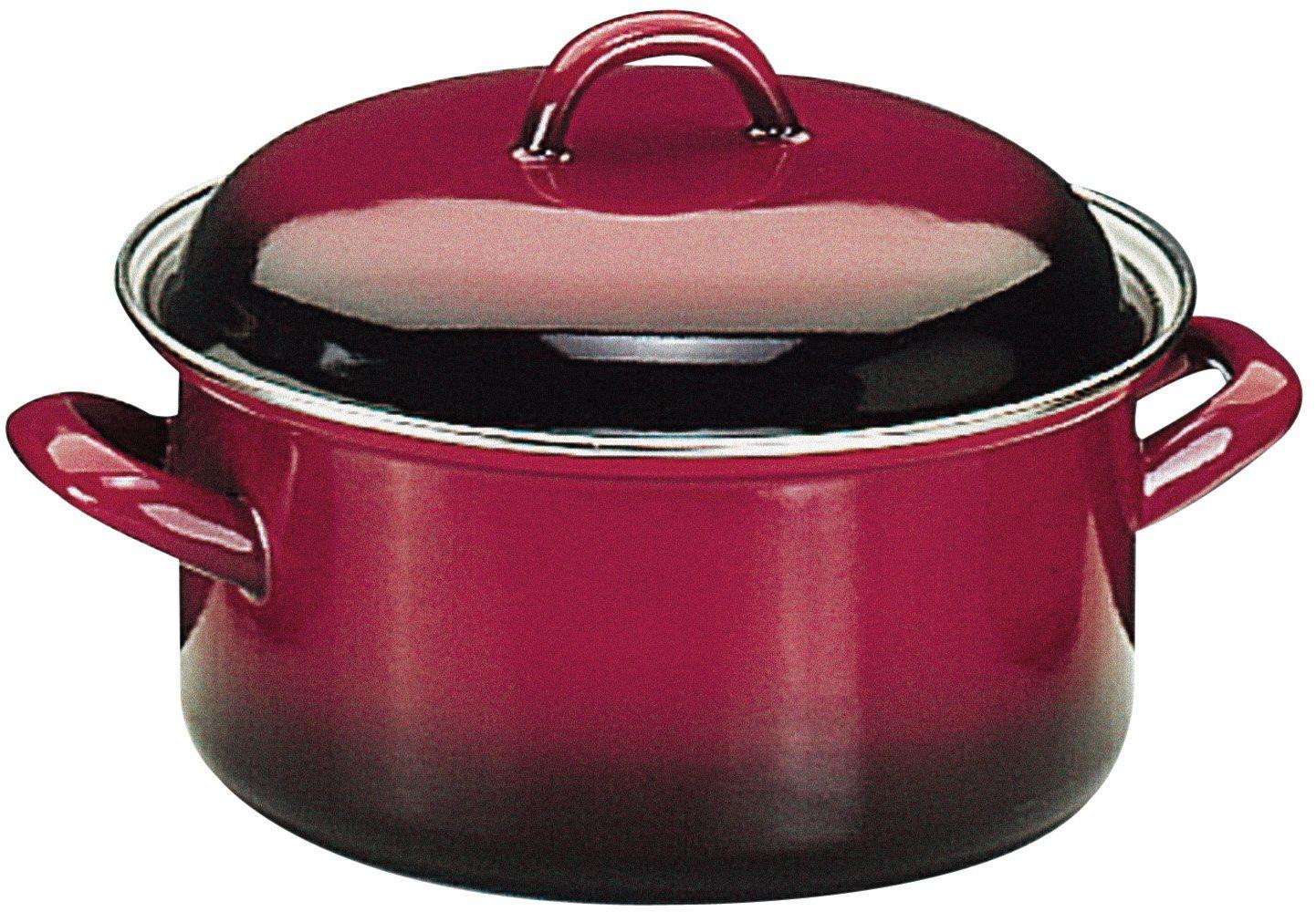 """ibili""""Volcan"""" emaliowana stalowa zapiekanka z pokrywką, czerwony/czarny, 28 cm, 2-częściowy"""