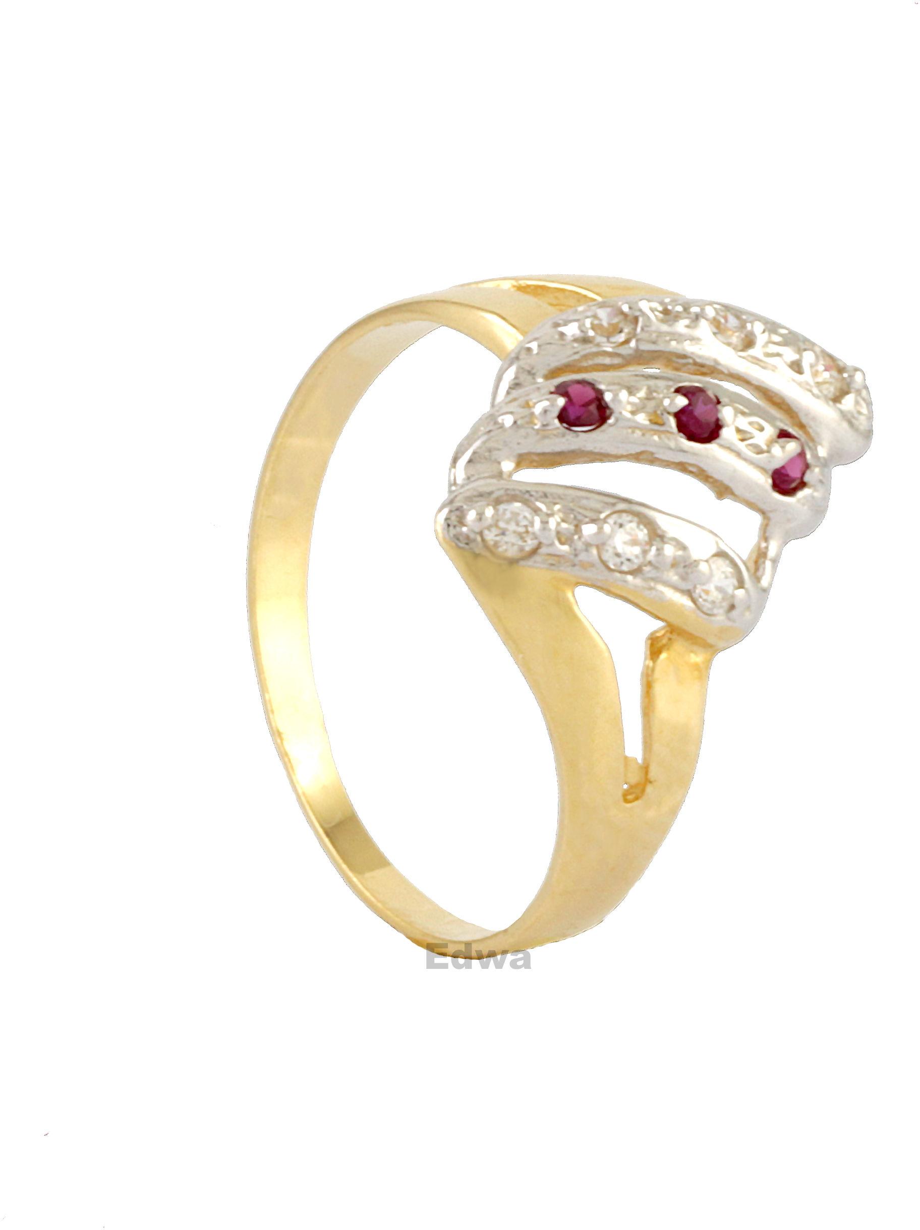 Pierścionek złoty z rubinami i cyrkoniami w białym złocie pr.585 roz.11