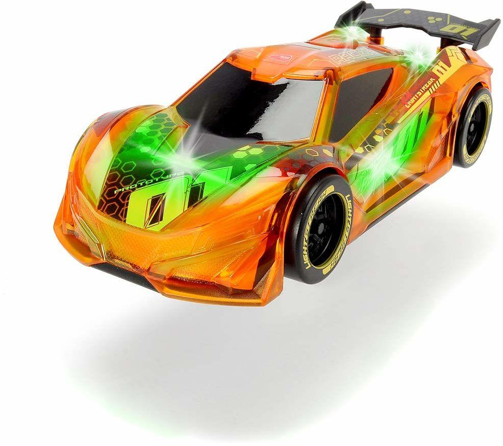 Dickie Toys Lightstreak Racer, świecący samochód wyścigowy z napędem frykcyjnym, zmiana światła i dźwięku, wraz z bateriami, 20 cm, pomarańczowy
