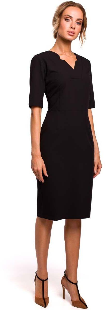 Czarna Dopasowana Sukienka Dzienno-Wizytowa