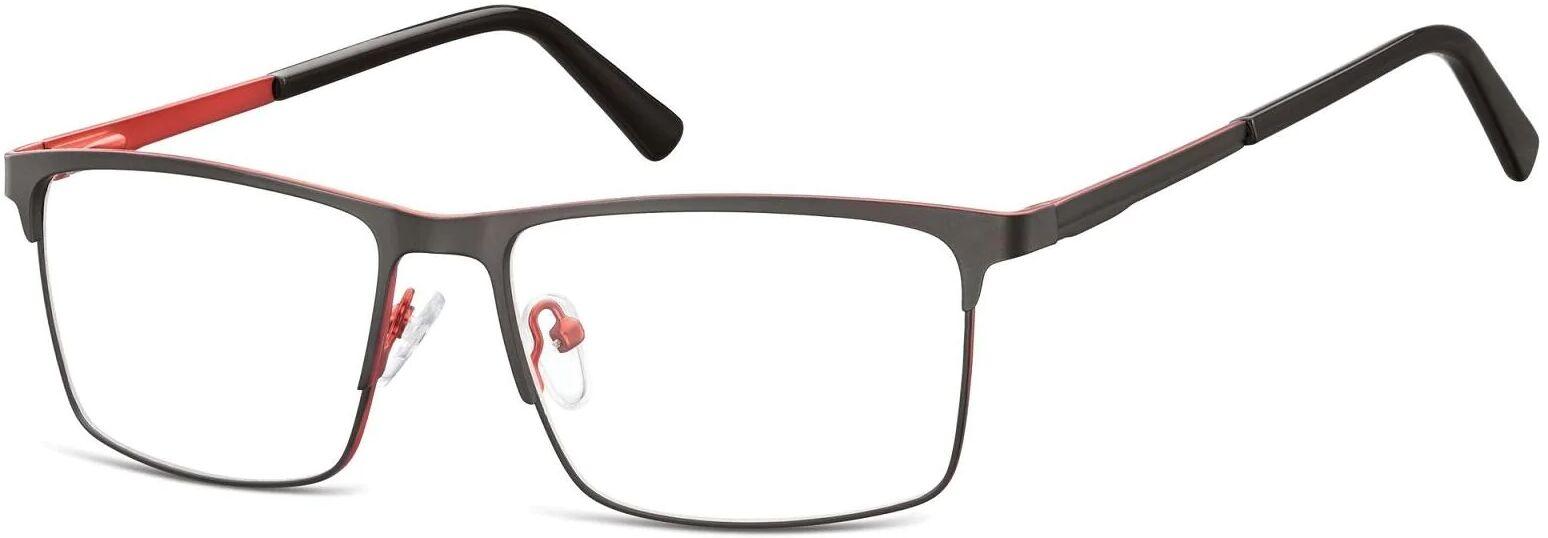 Okulary zerówki korekcyjne Nerd Prostokątne Flex 909 czarno-czerwone