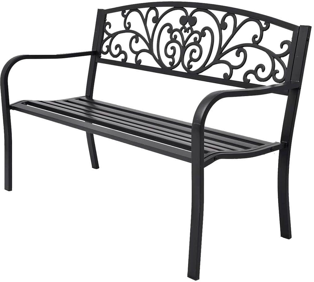 Metalowa ławka ogrodowa Clyde - czarna