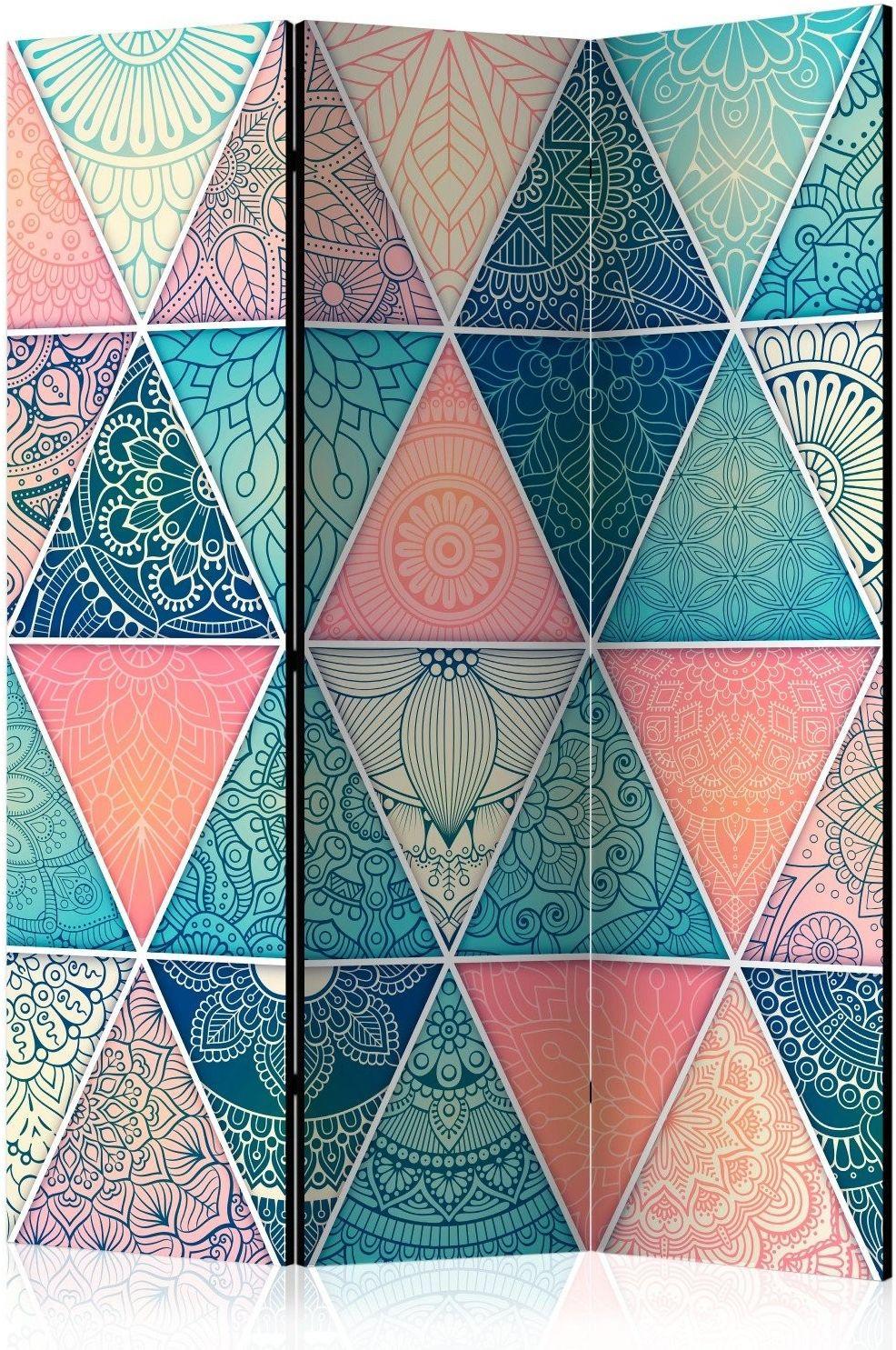 Parawan 3-częściowy - orientalne trójkąty [room dividers]