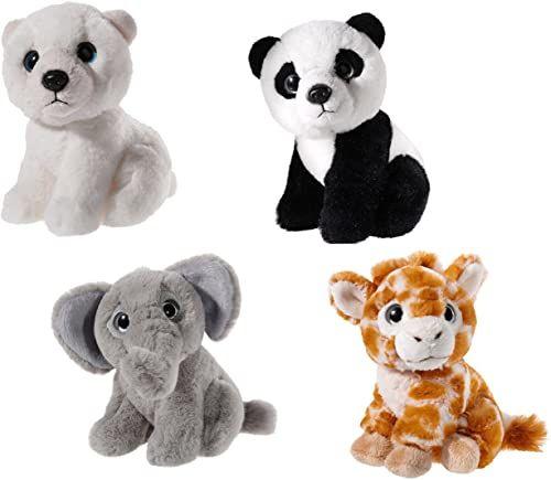 Heunec 519916 pluszowe zwierzątko zestaw, niedźwiedź polarny, żyrafa, tygrys, słoń, kremowy/szary/plamowy