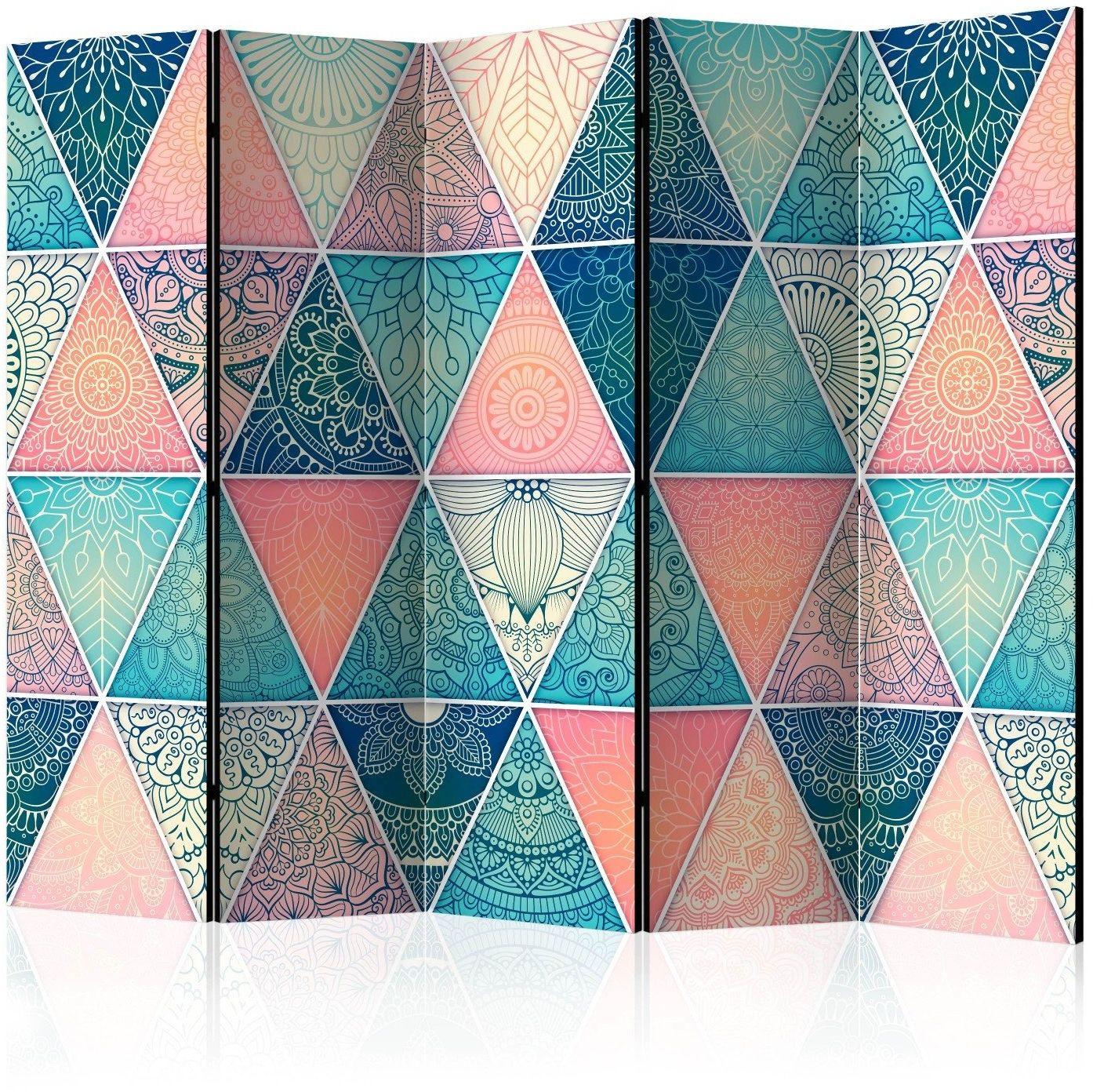Parawan 5-częściowy - orientalne trójkąty ii [room dividers]