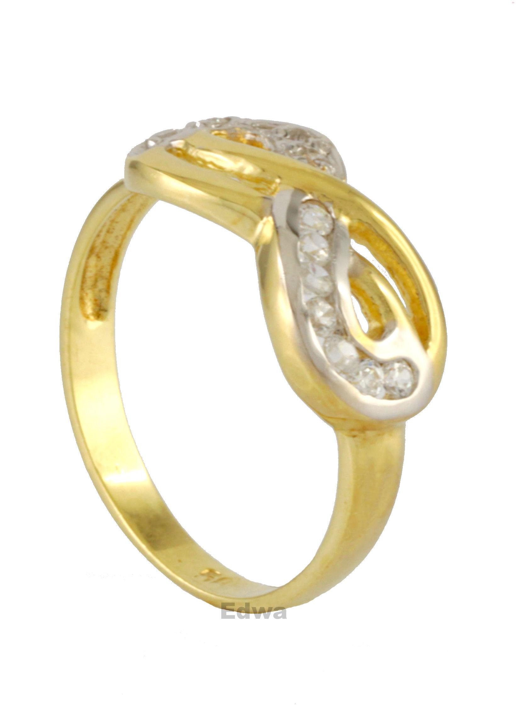 Pierścionek złoty nieskończoność z cyrkoniami pr.585 roz.14