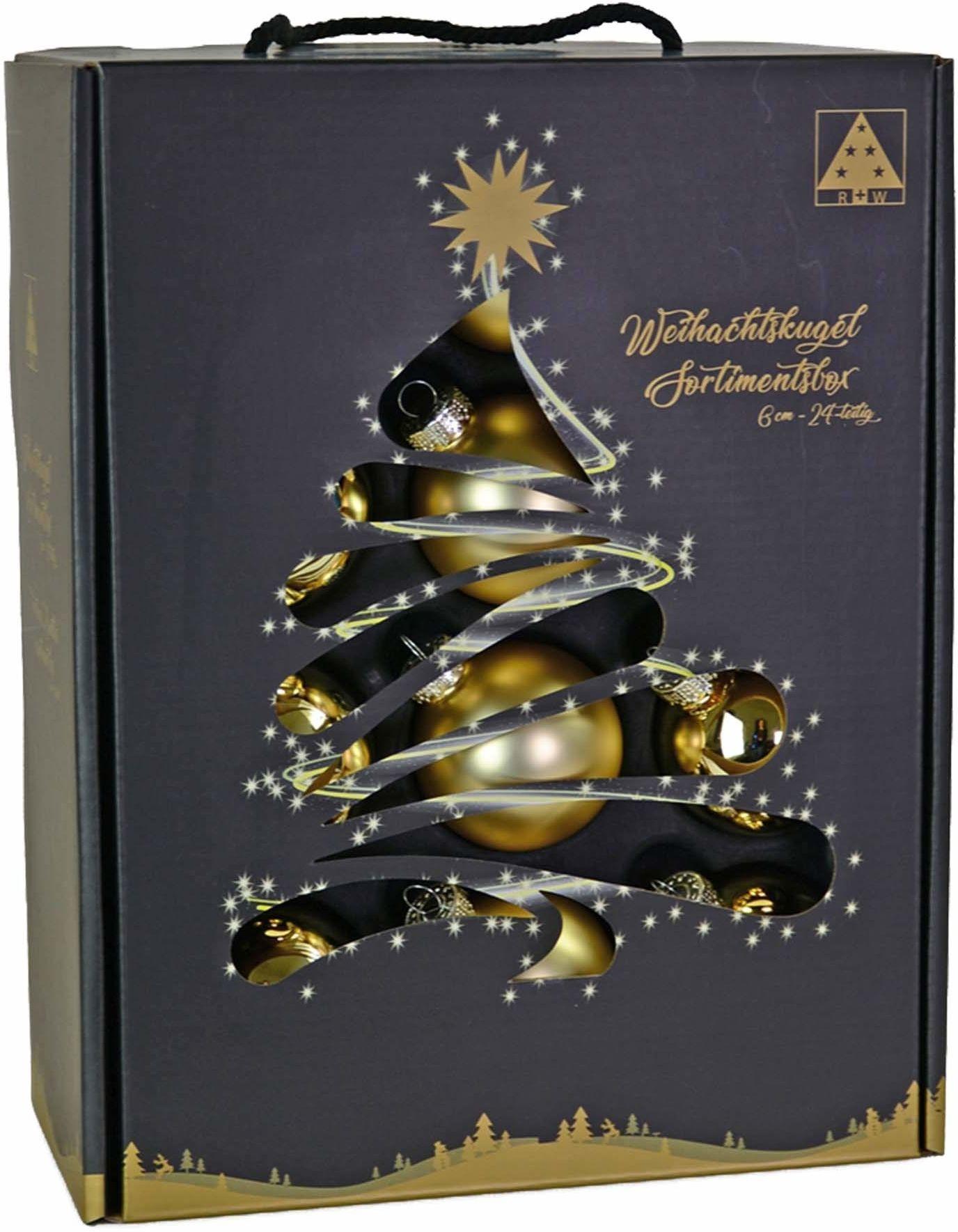 Riffelmacher & Weinberger 26250 zestaw bombek bożonarodzeniowych, 24 sztuki, złoty, 12 x matowych, 12 x błyszczących, średnica 6 cm, opakowanie bez PCV, bombki na choinkę, Boże Narodzenie