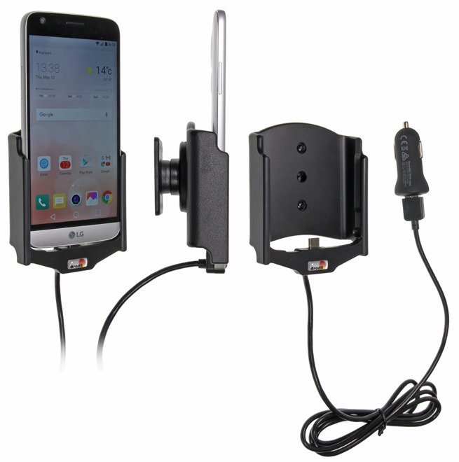 Uchwyt do LG G5 z wbudowanym kablem USB oraz ładowarką samochodową