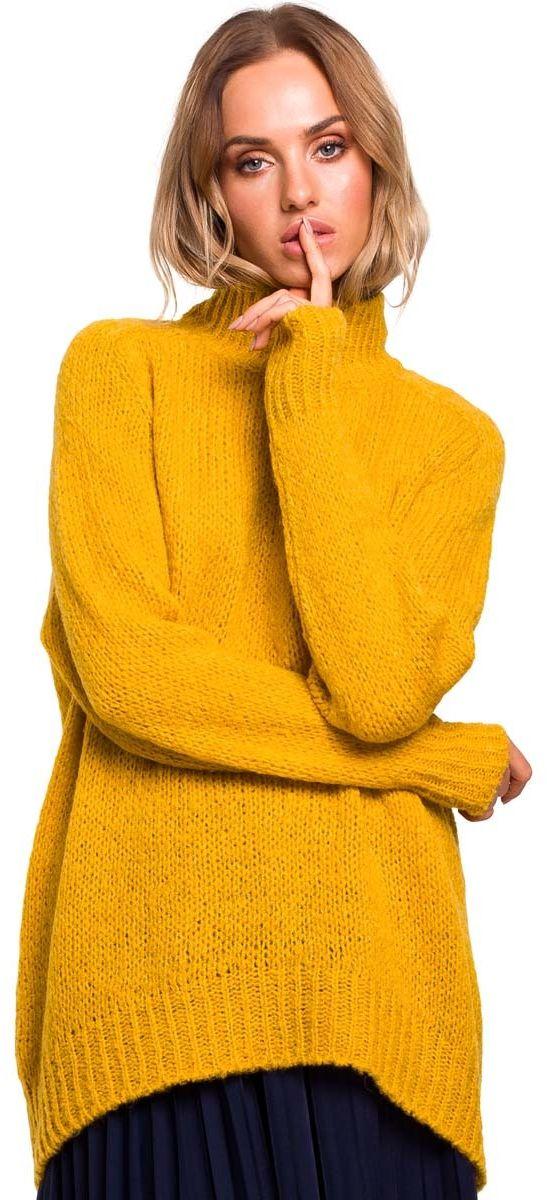 Miodowy Luźny Sweter z Półgolfem