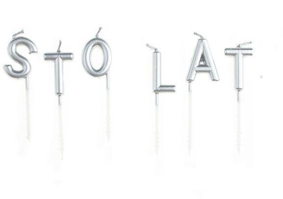 Świeczki urodzinowe Sto Lat srebrne 7cm 420094