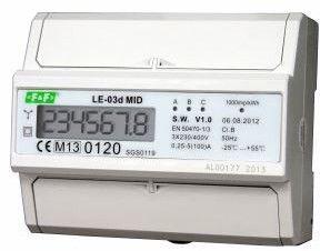 Licznik energii elektrycznej 3-fazowy 100A 230/400V z wyświetlaczem LCD MID LE-03D