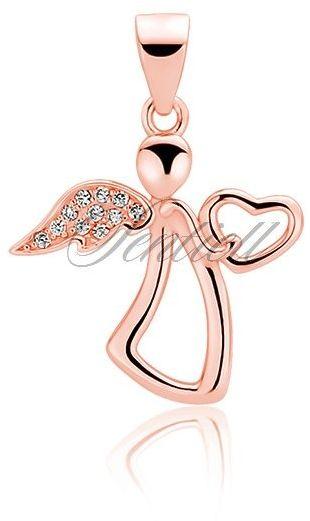 Srebrna zawieszka pr.925 anioł z cyrkoniami - różowe złoto
