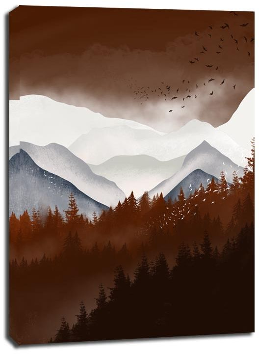Brązowe góry - obraz na płótnie wymiar do wyboru: 50x70 cm