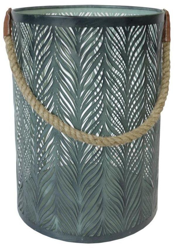 Lampion indyjski na świeczkę Modern wys. 35 cm metalowy zielony