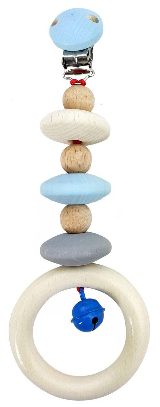 Hess 12816 - drewniana zabawka, zawieszka na wózek z drewna, naturalny niebieski