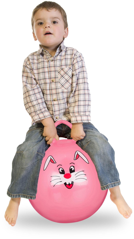 Relaxdays Piłka do skakania dla dzieci, zając, z uchwytem, do wewnątrz i na zewnątrz, z motywem zwierzęcym, miękka, średnica 45 cm, różowa