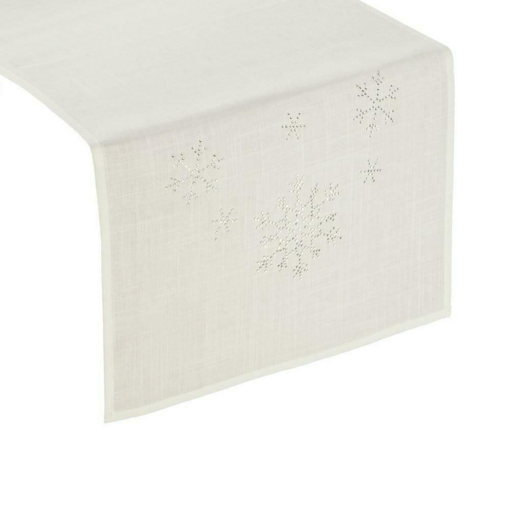Obrus bieżnik świąteczny 40x140 Judith ekri śnieżynki cekinki Eurofirany