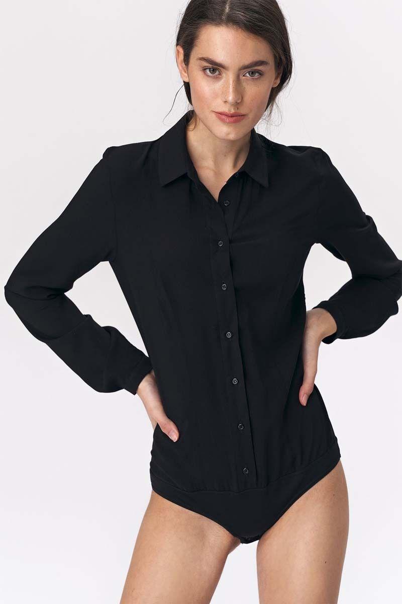Czarne stylowe koszulowe body