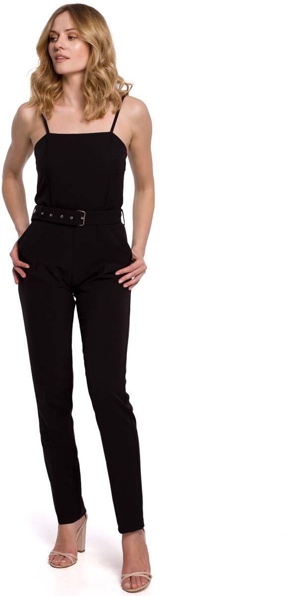 Czarny elegancki kombinezon na ramiączkach