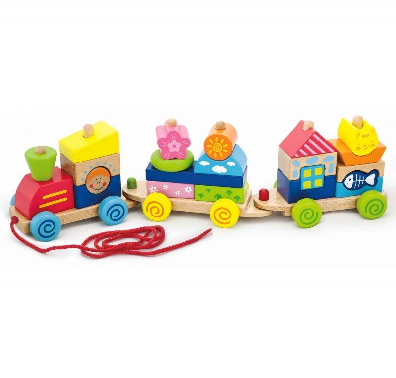 Kolorowa Kolejka z wagonikami do ciągania Viga Toys LK