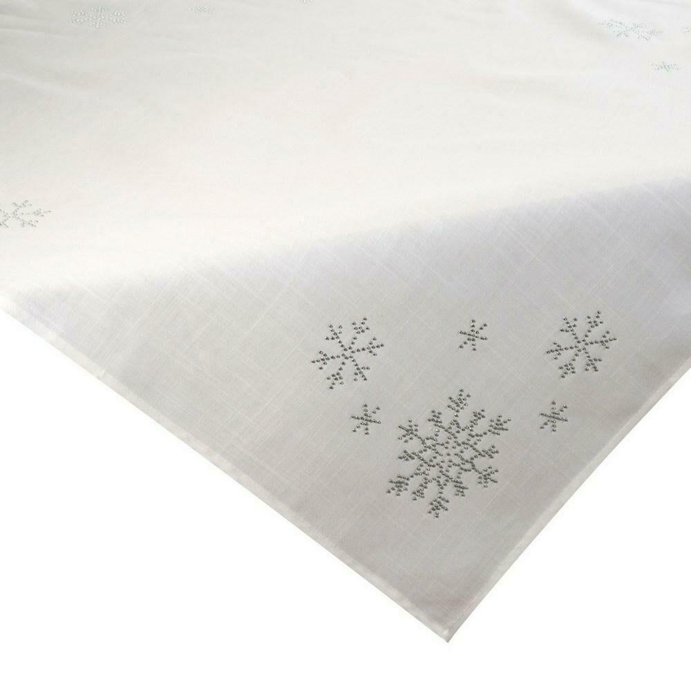 Obrus bieżnik świąteczny 40x180 Judith ekri śnieżynki cekinki Eurofirany