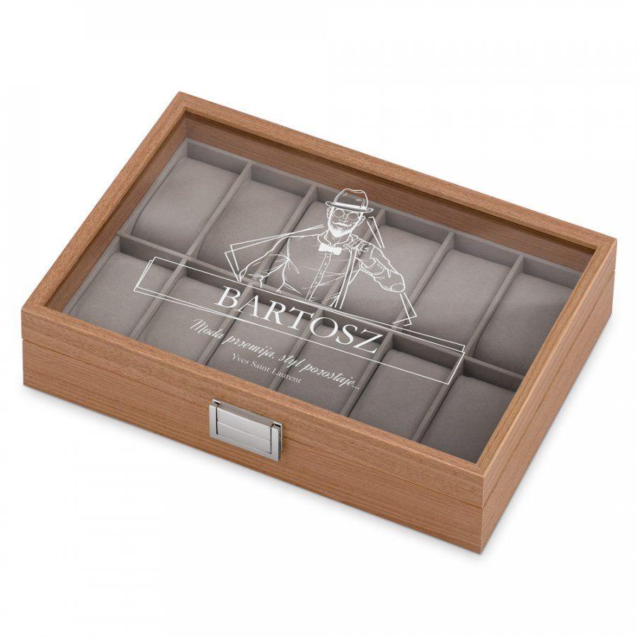Drewniana Szkatułka Kuferek na Zegarki GRAWER Dla Niego