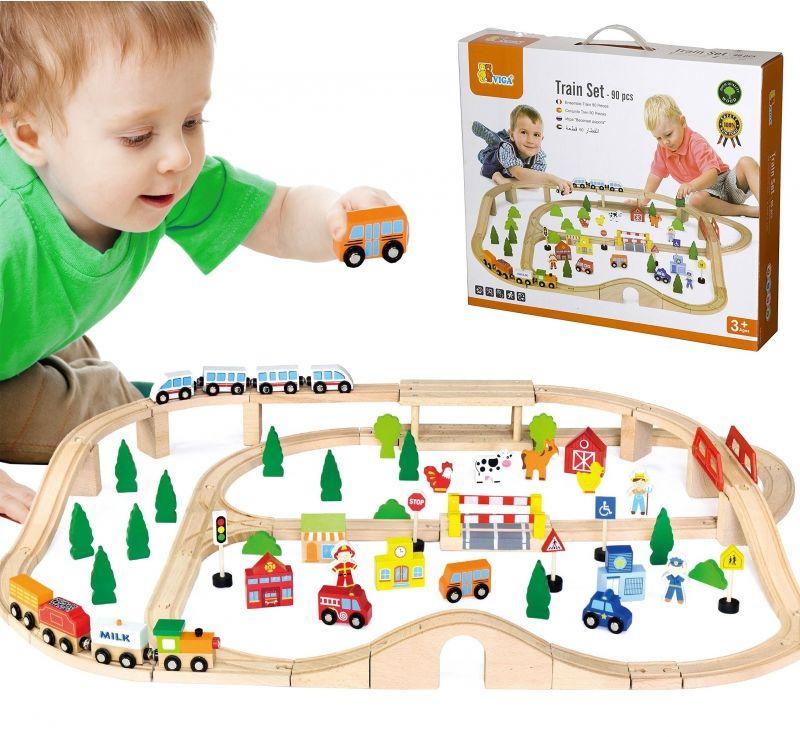 Drewniana Kolejka z pociągami tor dla dzieci 90 elementów Viga Toys LK