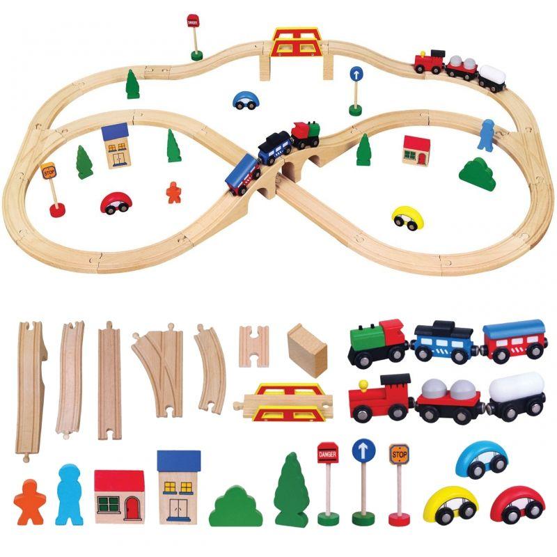 Drewniana Ogromna Stacja kolejowa 49 elementów Pociąg Kolejka Viga Toys LK