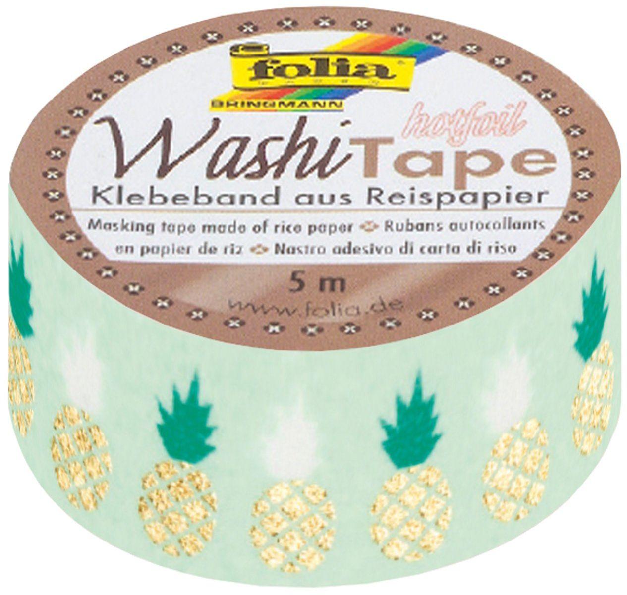 folia 26110 - taśma washi, taśma klejąca z papieru ryżowego, Hotfoil gold Ananas, 1 rolka ok. 5 m x 15 mm - idealna do ozdabiania i dekorowania