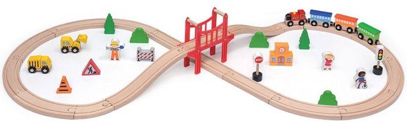 Drewniana Ogromna Stacja kolejowa 39 elementów Pociąg Kolejka Viga Toys LK