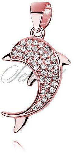 Srebrna zawieszka pr.925 pozłacany delfin z cyrkoniami - różowe złoto